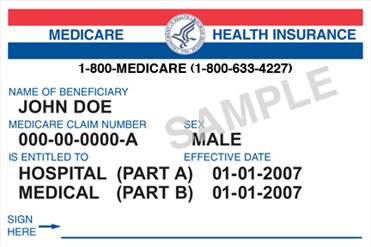 Current Medicare Card Example